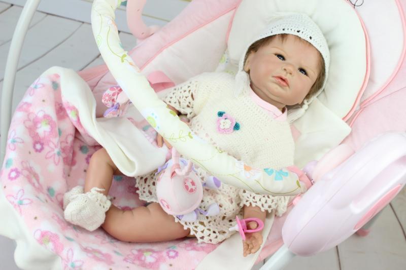 NPKCOLLECTION 55cm Silicone Reborn Baby Girl Dolls Toy Lifelike 22inch Newborn Princess Babies Dolls Birthday Gift To Kids