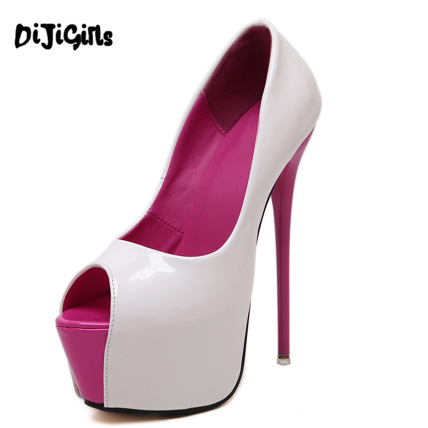 16cm extreme high heels Denim Style women high heel pumps platform shoes sexy peep toe dress party shoes ladies footwear Spiral цены онлайн