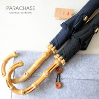 New Arrival Brand Big Umbrellas For Men Retro Bamboo Rattan Curved Handle Quality Rain Umbrella Strong