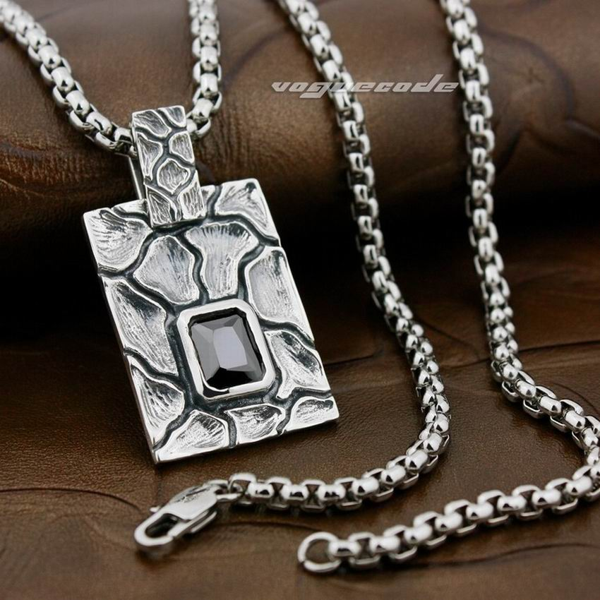 925 Sterling Silver Square Stripe Black CZ Mens Biker Rocker Punk Pendant 8X008925 Sterling Silver Square Stripe Black CZ Mens Biker Rocker Punk Pendant 8X008
