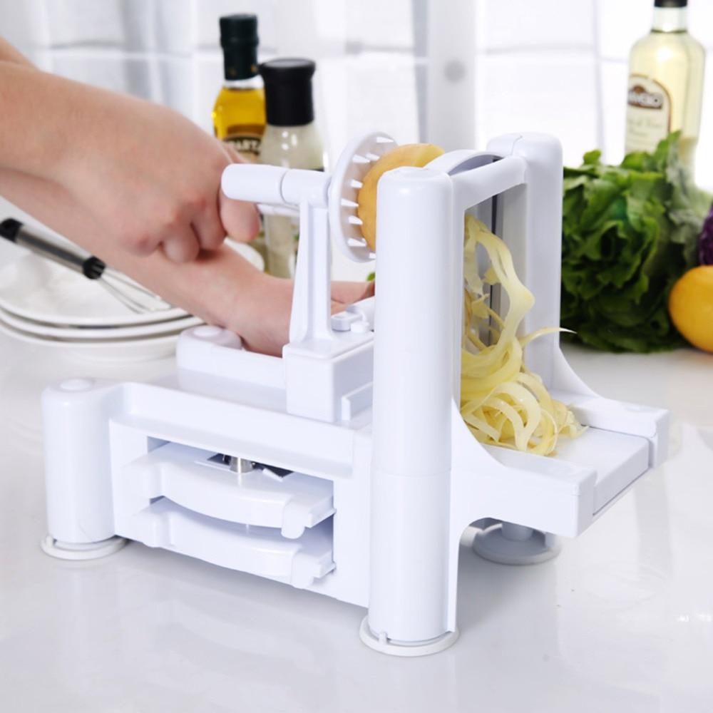 2017 New Household Essential Tri-Blade Slicer Vegetable Spiral Cutter Mandoline Chopper Cooking Tools Kitchen Spiralizer Knife