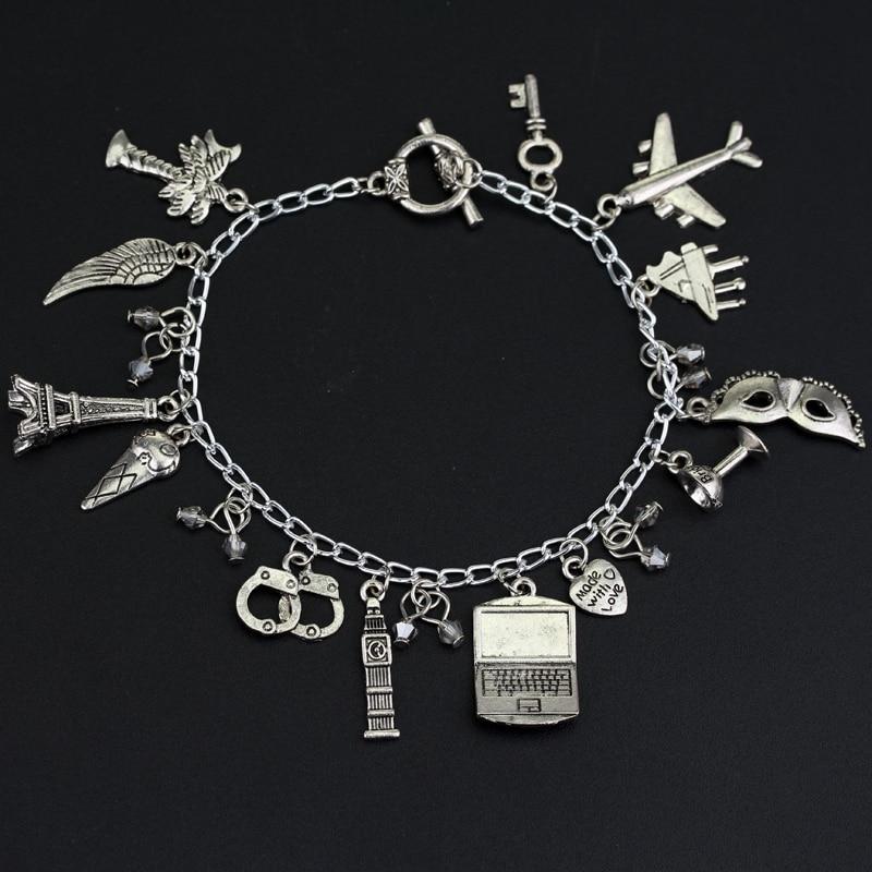 Women Fashion FSOG Charm Bracelet Fifty Shades of Grey Inspired 50 Shades charms Tie Handcuffs Gray Bracelets ...