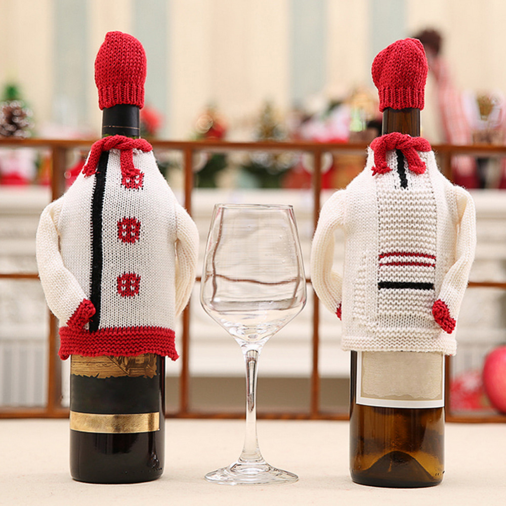 Creative Home Decor Christmas Wine Bottle Covers White Waiter with Red Hat Christmas Gifts Home Xmas Party New Year Supplies