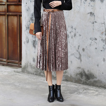 Metallic Velour Midi Skirt With Sash Women Fashion Winter Velvet Pleated Pink Girls Party Club Shining