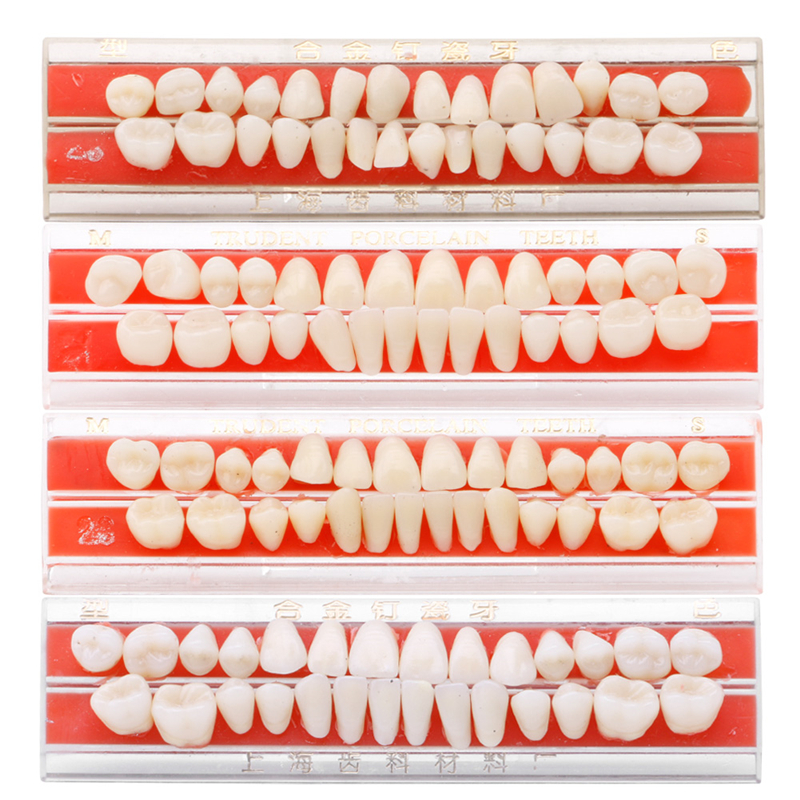 1 Set Dents Teeths Dent Alloy Pin Porcelain Dental Materials Dentures Colors Teeth Care Tools Whitening 24# Dents Teeth