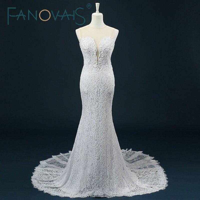47e052052 Pura cuello vestido de boda sirena de perlas Beadig botón cubierto de encaje  vestidos de novia 2019 abito da sposa rosa - a.artofcraig.me