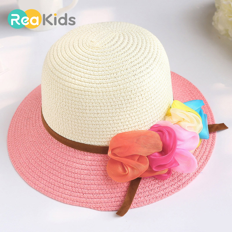 Original Reakids Beach Panama Caps Straw Hats Kids Flower Bow Summer Cap Baby Sun Hat For Girl Bucket Cap For Children Hat Accessories Mother & Kids