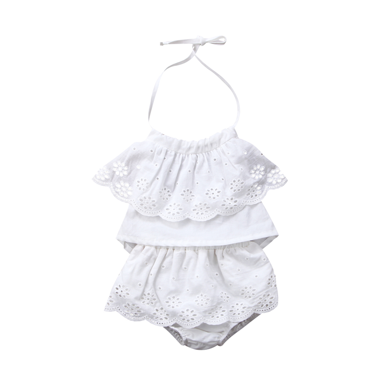 Adorable 2Pcs/Set Baby Girl Cotton Clothing Fashion Summer Newborn Baby Girls Lace Strap Top Shorts Pants Baby Girl Clothes Set