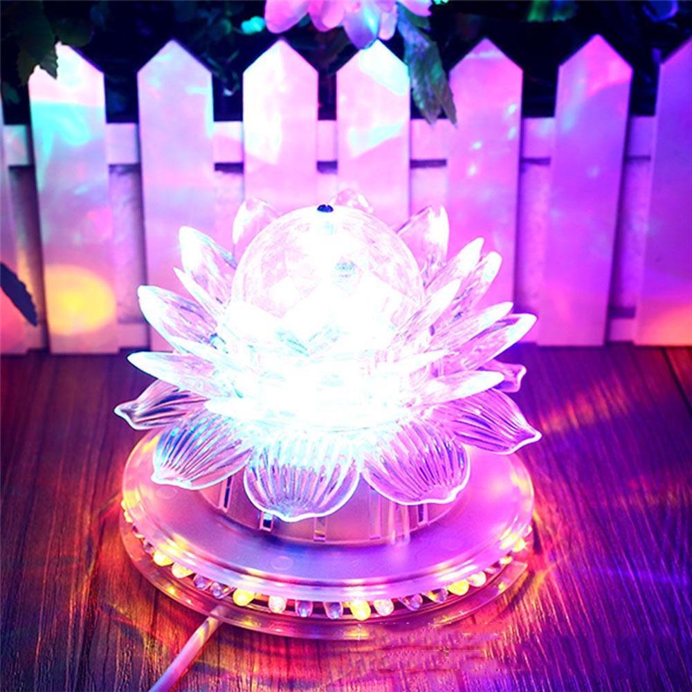 Led stage light KTV Bar DJ lamps Lotus Sound Actived Auto RGB Color 110/220V EU Plug Xmas Party Wedding Room decor Trendy UR