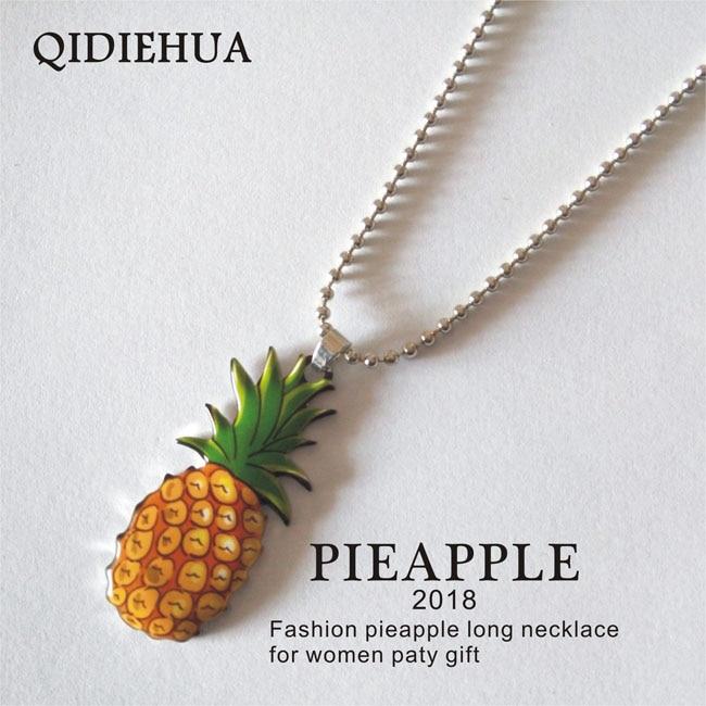 QIDIEHUA Hot Selling 22*50mm Pineapple Necklace Women Alloy Long Chain Pendant Fruit Enamel Necklaces Pendants Jewelry Wholesale