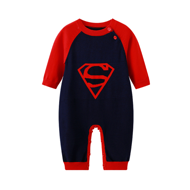 f3590a8f663a Auro Mesa Baby Boys Knitted Jumpsuit one piece Superman baby Clothes ...