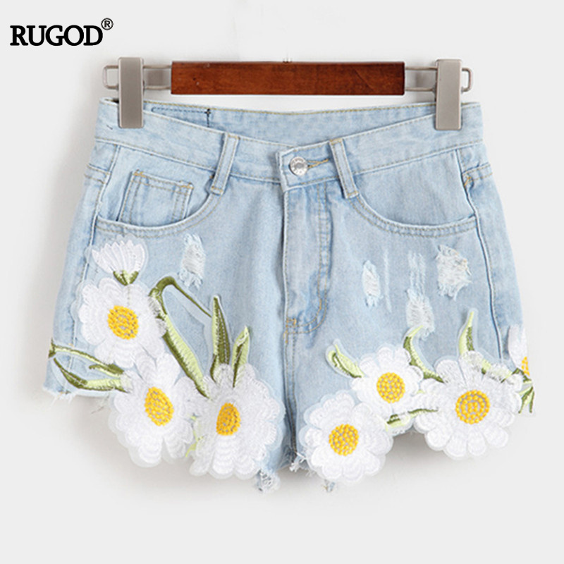 Women New Arrival Denim Shorts Vintage High Waist Flower Embroidery Jeans Shorts Girls'Street Wear Sexy Plus Size Shorts