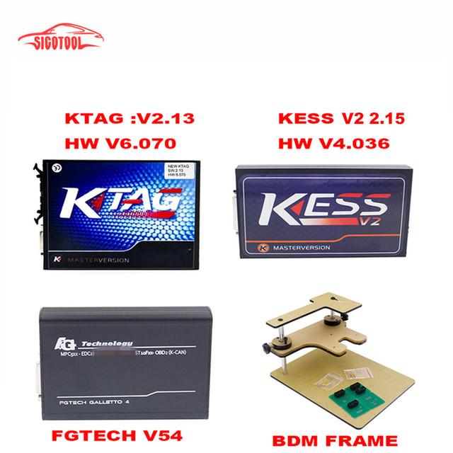 2017 mejor calidad Programador ECU KTAG V2.13 + FG TECNOLOGÍA Galletto 4 V54 + V2.30 No Tokens KESS V2 + FRAME BDM Adaptadores Completo DHL Libre nave