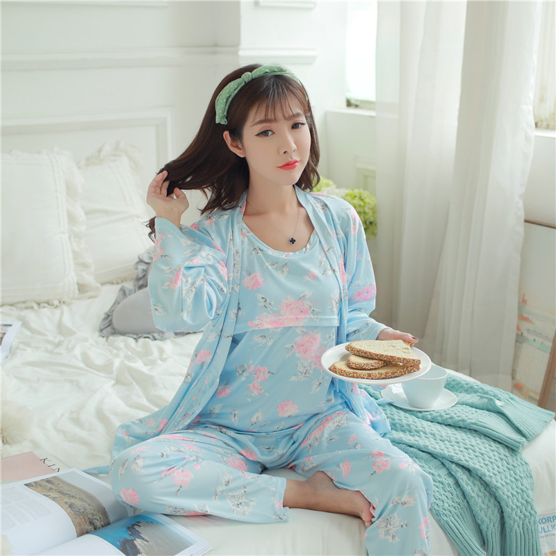 f06ea8674a1 Detail Feedback Questions about Autumn Winter Pregnant Women Long Sleeved  Pajamas Thickening Cotton Maternity Clothing Maternity Clothing Three Piece  Suit ...