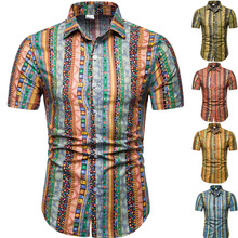 2019 Ethnic style print large size casual slim men short sleeved shirt Summer beach M-5XL Men brand