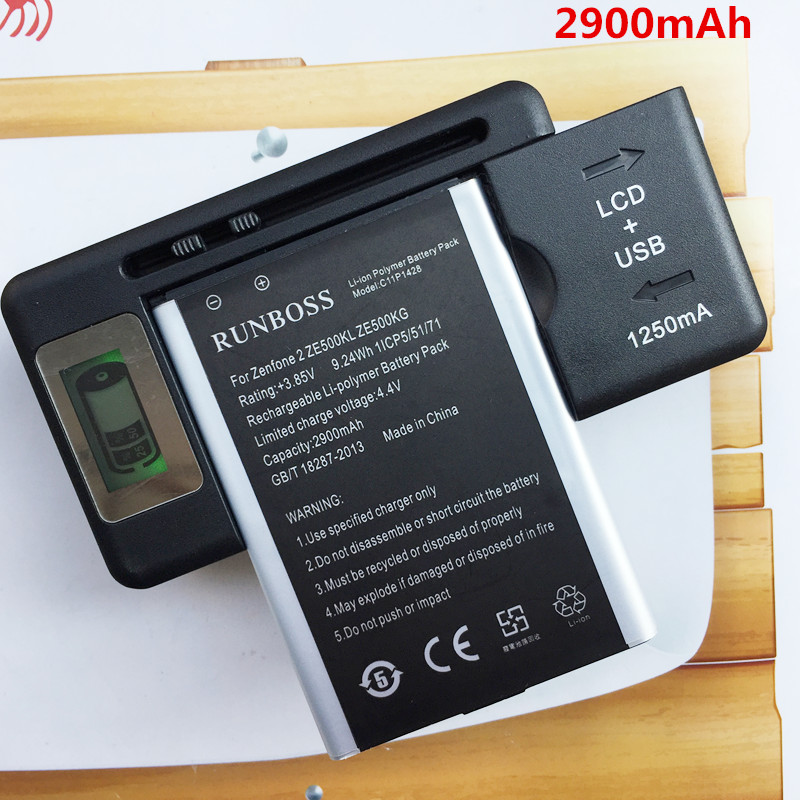 2PCS 2900mAh C11P1428 <font><b>Battery</b></font> For Asus Zenfone 2 Zenfone2 Laser <font><b>ZE500KL</b></font> ZE500KG <font><b>Batteries</b></font> + 1PCS LCD Wall Charger
