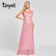 Tanpell lace evening dress peach sleeveless floor length a line sweep train gown women prom formal long backless dresses