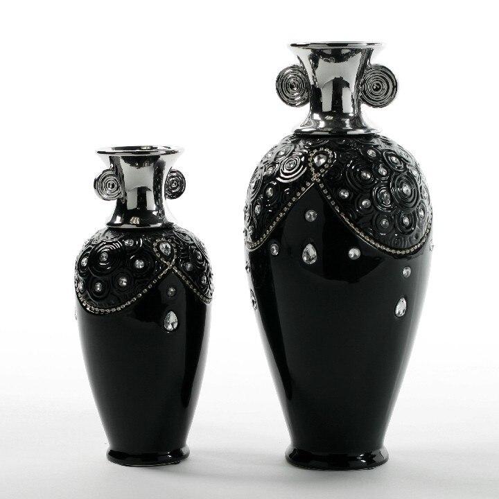 Высокого качества черного цвета с цветочками для вечеринок украшения неоклассическом стиле посеребренные двойные Ушастый white diamond инкрустированные элегантная декоративная ваза