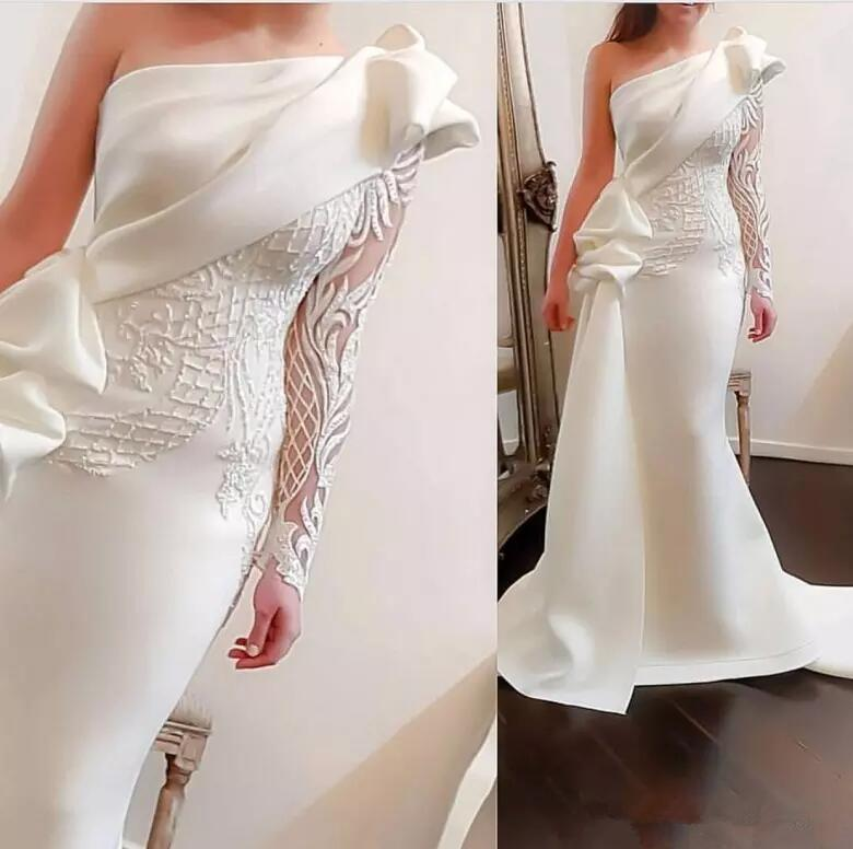 Elegant One Shoulder White Long   Evening     Dresses   2019 Floor Length Mermaid Long Sleeve Satin Formal   Evening   Gowns For Women