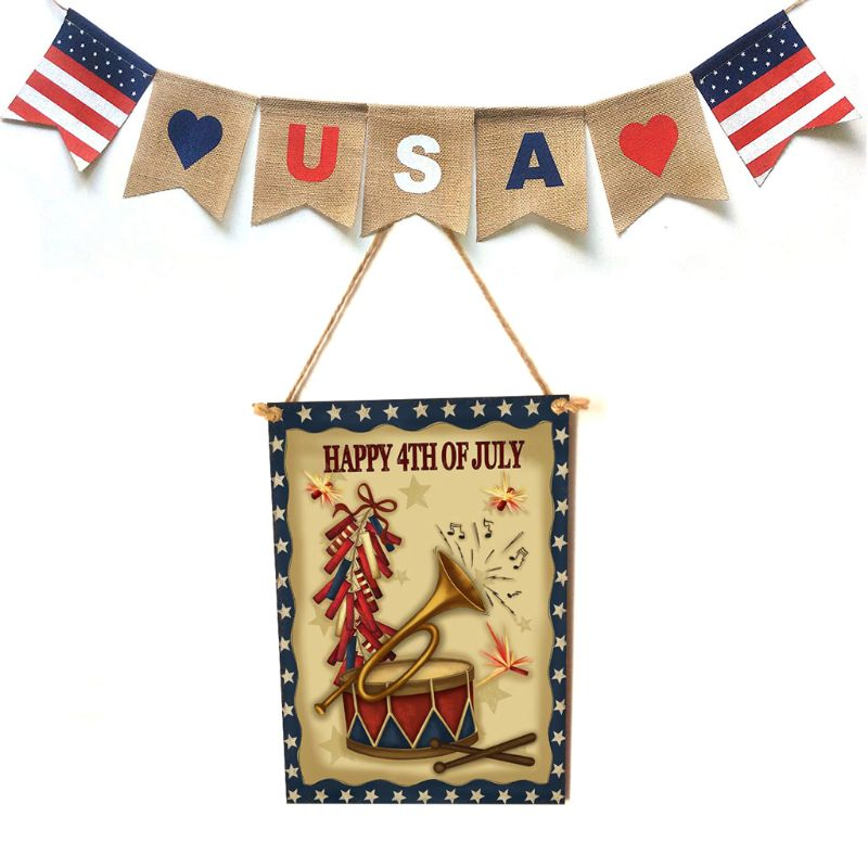 Rustic Wooden Happy Happy 4th Of July Sign Plaque Independence Day Room Home Decor Collection Gift-in Plaques & Signs from Home & Garden