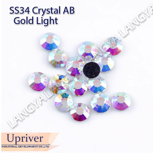 High Quality Bright Glass Flat Back SS34 4.0mm Gold Light Crystal AB Hotfix Rhinestones 144pcs For Dress