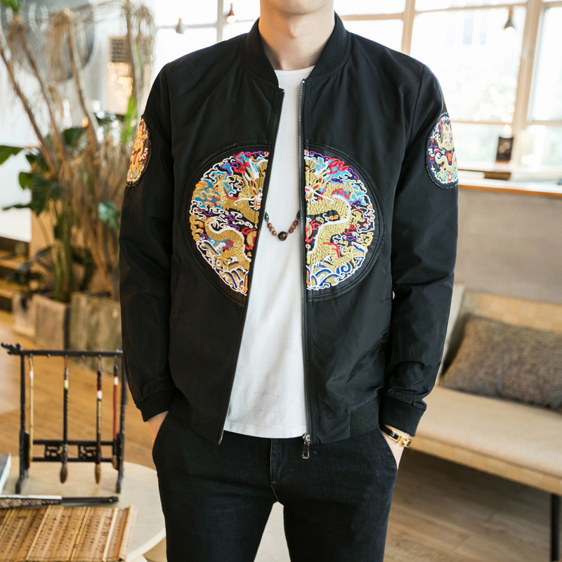 2018 Chinese Style Men's Jacket Dragon Embroidery Fashion Bomber Jacket Coat Men Slim Fit Outfit Male Casual Mens Windbreakers