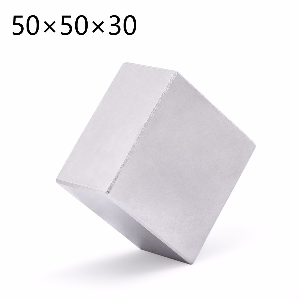 1pc Block Permanent 50mm x 50mm x 30mm Super Strong Rare Earth magnets Neodymium Magnet High Quality 50*50*30 free shipping 50 30 1pc strong neodymium magnet n52 50mm x 30mm powerful neodimio super magnets imanes free shipping