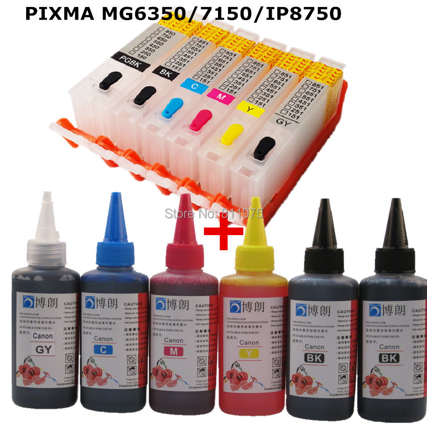 6 INK For CANON pixma  MG6350 MG7150 IP8750 printer PGI 550 CLI 551refillable ink cartridge+ 6 Color Dye Ink 100ml 5pcs compatible ink cartridge for canon pgi425 cli426 pixma ip4840 ip4940 ix6540 mg5140 mg5240 mg5340 mx714 mx884 mx894 printer