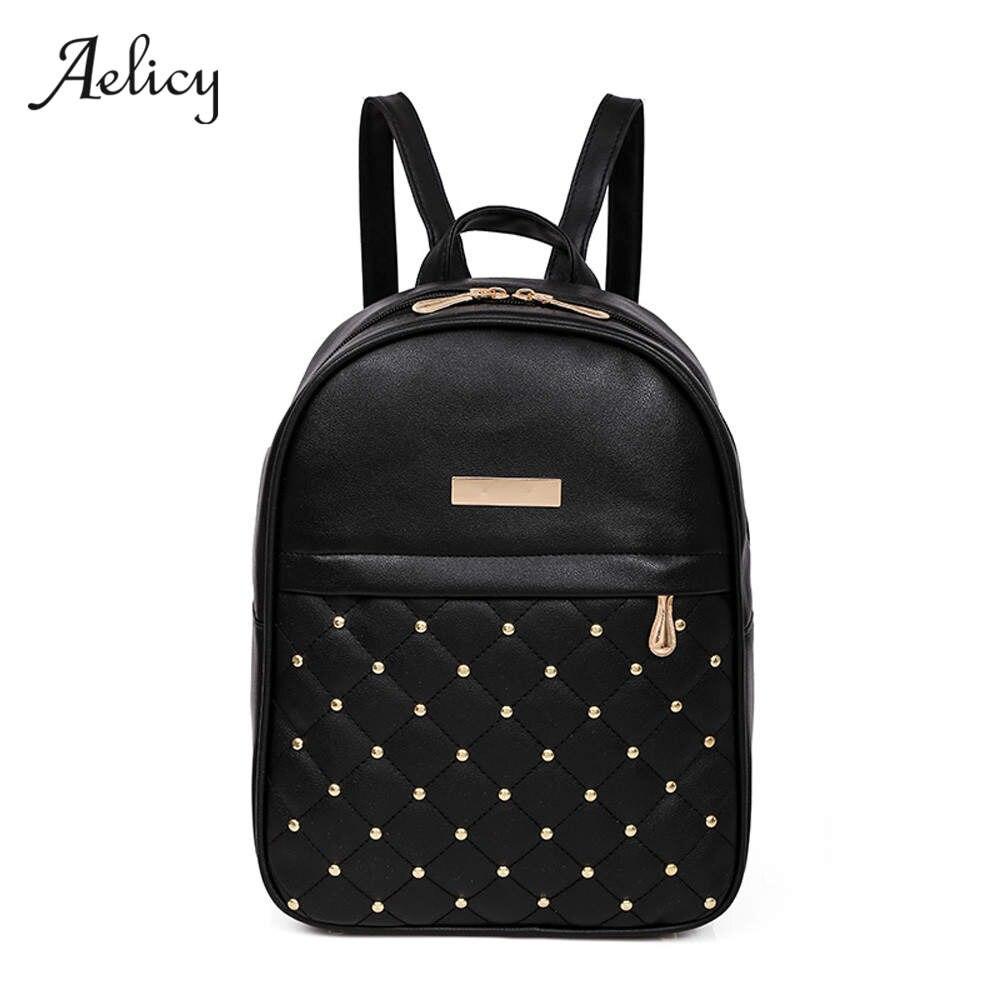 все цены на Aelicy Fashion Women Backpack Causal Bags High Quality Bead Female Shoulder Bag PU Leather Backpacks for Girls mochila feminina