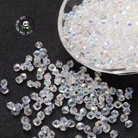 Giả Kết Tinh Glass Beads, AB Màu, mặt,, Bicone rõ ràng, kích thước: khoảng 4 mét đường kính, 3.5 mét dày, lỗ: 1 mét,
