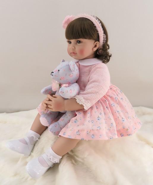 60cm silicona Reborn niña bebé muñeca vinilo realista princesa Rosa juguete con oso cumpleaños regalo edición limitada muñeca-in Muñecas from Juguetes y pasatiempos    2