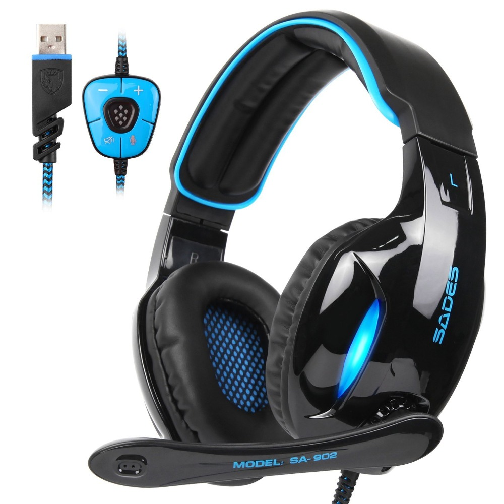 Sades SA902 SA 902 Gaming Headset 7 1 surround USB Headphone with Microphone Noise Cancelling Mic
