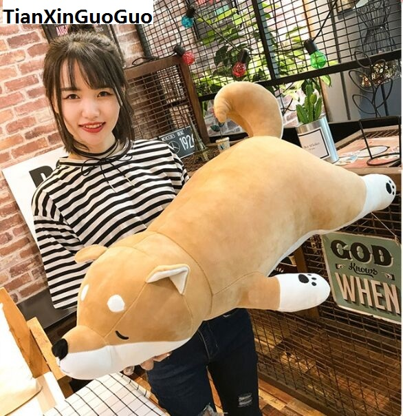 цены large 90cm lovely cartoon prone Shiba Inu plush toy soft cotton dog doll sleeping pillow birthday gift s0023
