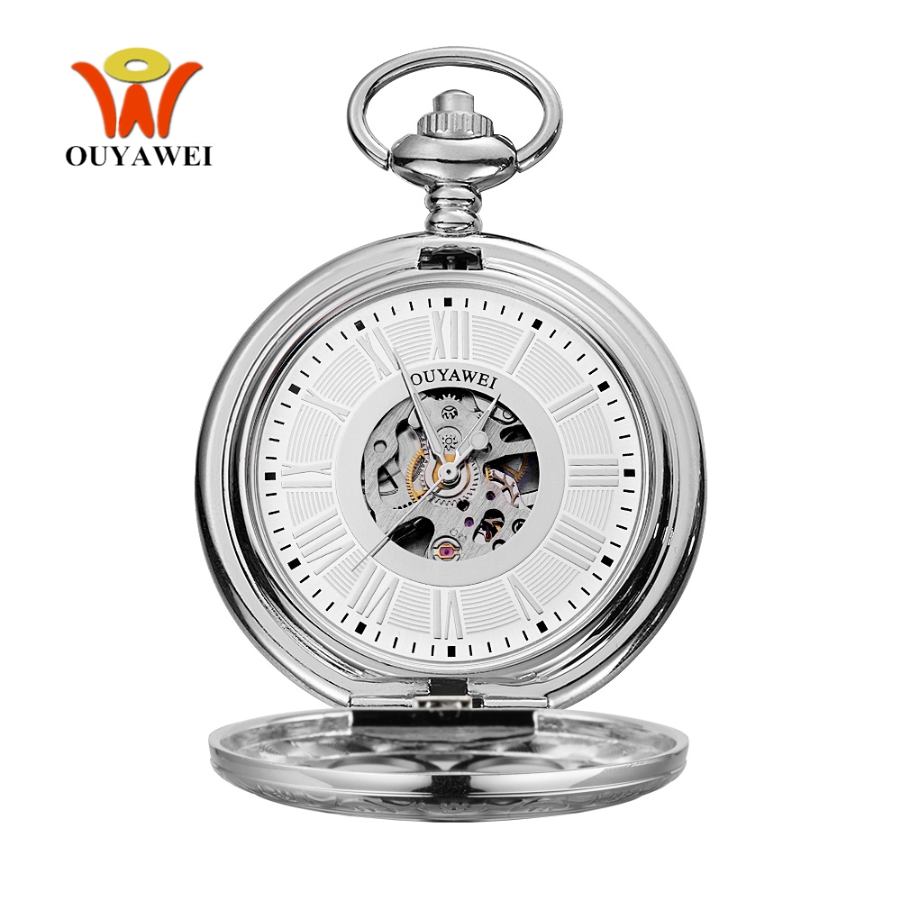 Top Brand  OYW Mechanical Hand Wind Pocket Watch Men Man Silver White Pocket Fob Watch Analog Clock Steampunk Men Hombre Relogio