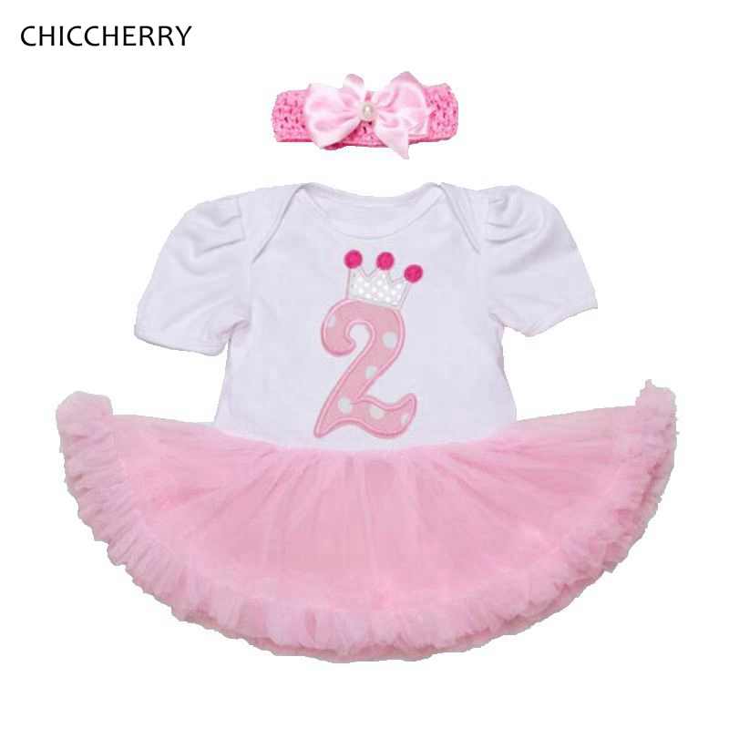 Crown Second Birthday Pink Girls Outfits Lace Petti Romper Dress Headband 2PCS Baby Girl Summer Clothing Sets Girls Clothes 2017 pink 1st birthday outfits for girls newborn infant lace tutu dress romper set 2017 vestido infantil toddler romper dress clothes