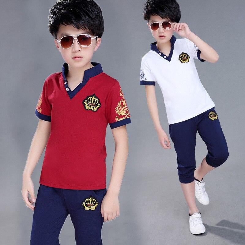 7be000050e62 Cheap Trajes deportivos adolescentes verano niños conjuntos de ropa de  manga corta Camiseta y Pantalones Casual