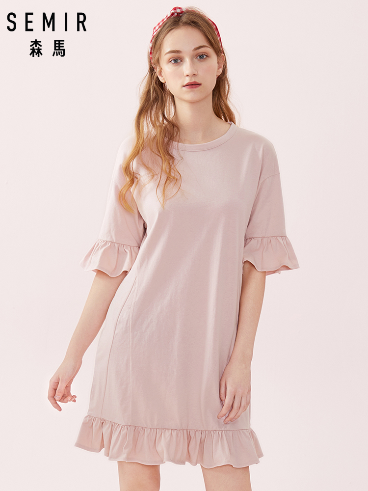 SEMIR Women 100% Cotton Half-Length Sleeve Dress With Ruffle At Cuffs And Hem Women's Ruffle-Trimed Dress With Lacing At Back