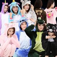 Unisex Kigurumi Unicorn Stitch Koala Onesie Flannel Pajamas Adults Anime Cosplay Animal Onesies Sleepwear Hoodie For