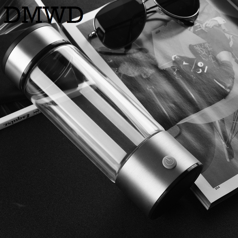 DMWD Rechargeable USB Hydrogen Rich Water Ionizer Generator portable Glass Bottle cup ORP Hydrogen Alkaline h2 water maker 400ml wholesale lcd alkaline water ionizer