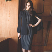 Women Blazer Dress 2 Piece Set Office Work Winter Black Clock Shawl Jacket With Belt+O Neck Vertical Striped Knee Length Dress