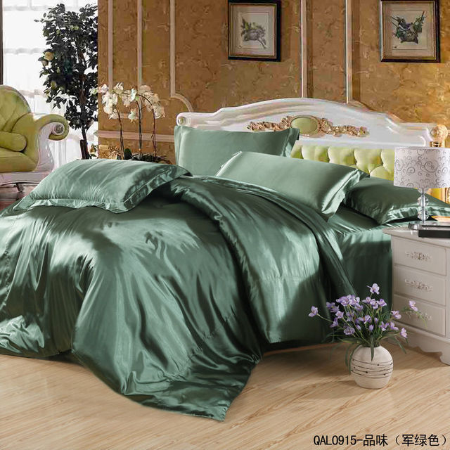 Solid Army Green Satin Silk Bedding Set Queen Quilt Duvet Cover King Size  Bed In A