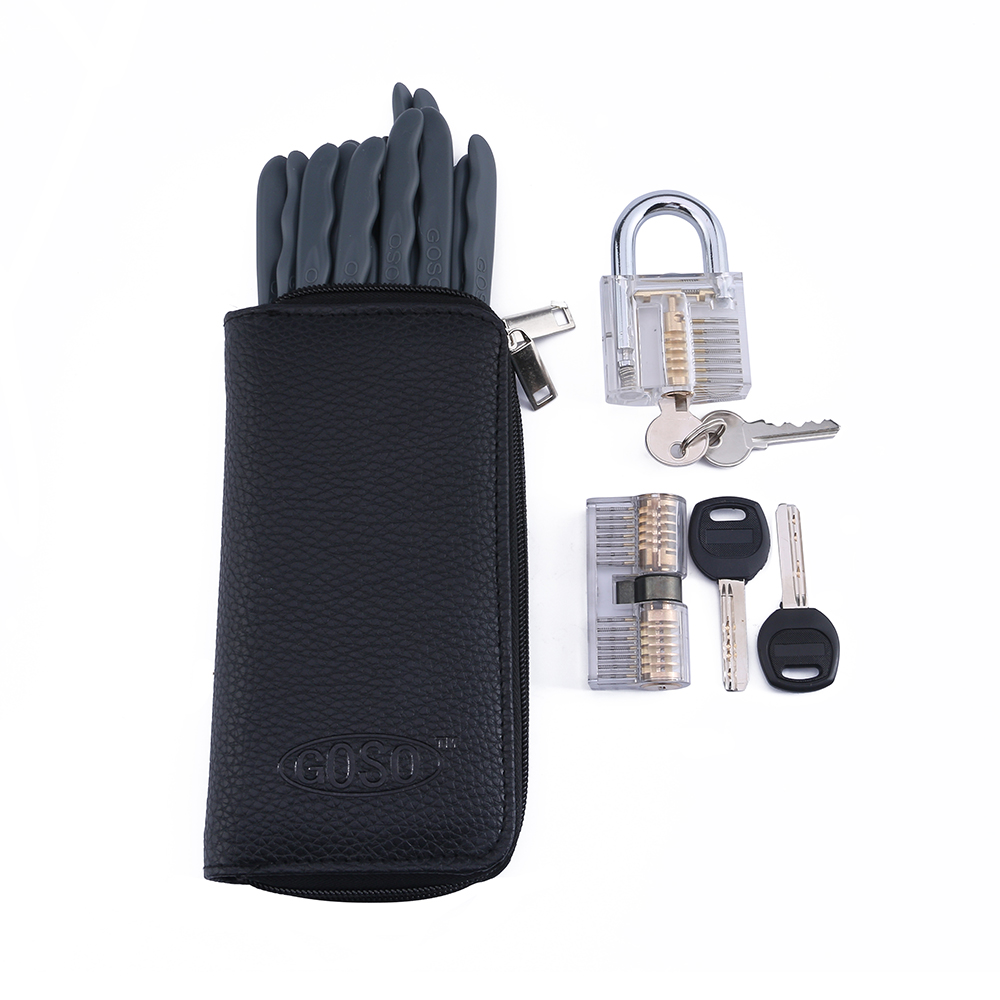 Free Shipping!Hot Sale GOSO Pick Lock Set  With Two  Transparent  Lock for Locksmith Practice free shipping 3 kinds of transparent padlocks for learner practice
