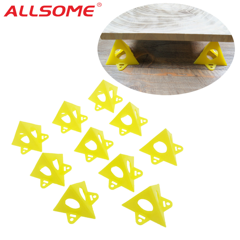 ALLSOME 10pcs/Set Woodworking Accessories Wood Work Tools Painter's Pyramid Stands Paint Tool Triangle Paint Pads Feet Yellow