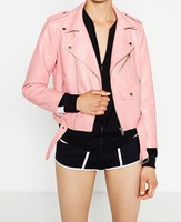 2017 Spring Autumn Women Faux Soft Leather Jacket Long Sleeve Pink Biker Coat Zipper Design Motorcycle