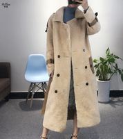 Real Natural Lamb Fur Coat Sheep Shearing Double faced Fur Overcoat Winter Women's Long With Belt Pockets Plus Size 180427 8