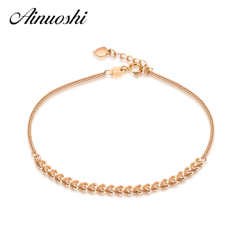 AINUOSHI Luxury 18K Rose Gold Pteris Chain Women Bracelets Lady Wedding Engagement 19cm Solid Gold Jewelry Party Gifts Bracelets