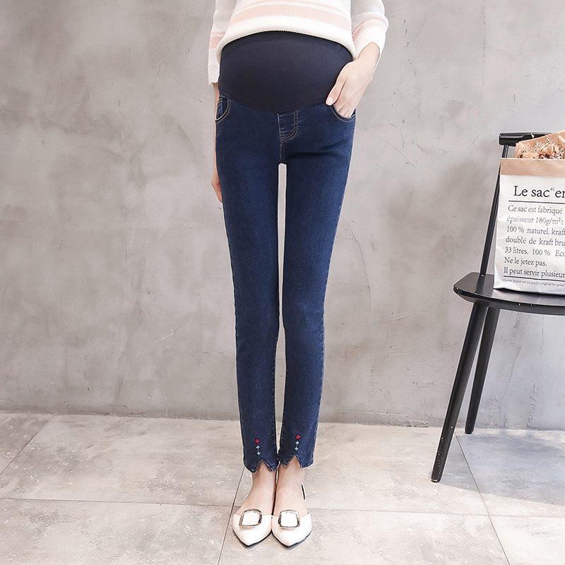Split fork embroidered maternity pants maternity wear casual feet lift pants elastic stomach lift denim pants