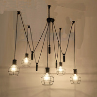 5 head Art Deco Spider big pendant Lamp Classic Decorative Loft Lights American Country E27 for Parlor bar cafe office bedroom