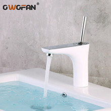 Brass Elegant White Basin Faucet Bathroom Hot And Cold Water Mixer Tap Single Handle Bathroom Deck Mounted Sink Faucets F5657 new arrival bathroom white faucet deck mounted cold and hot water tap soild brass white painted sink faucets mixer