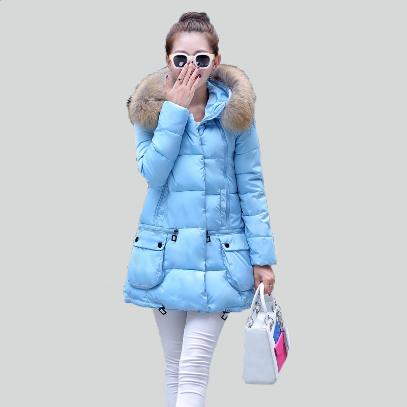 ФОТО 2016 Womens Winter Jacket and Coats Fur Collar Hooded Thick Warm Parkas Female Loose Woman Long Down Parka Coat Jackets W287